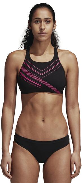 adidas Two-Piece Placed-Print Bikini Dames, black/shock pink